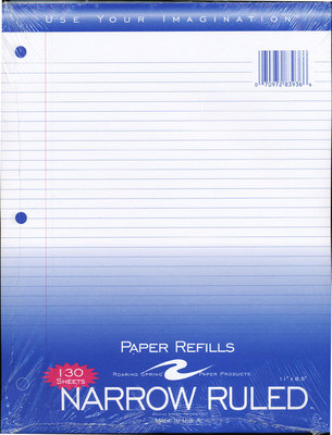 Filler Paper 130 Ct Narrow Ruled