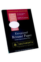 Southworth Exceptional Resume Paper, 100% Cotton, White