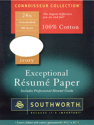 Southworth Exceptional Resume Paper, 100% Cotton, Ivory