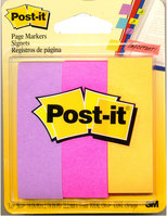3M Post It Page Markers Flourescent