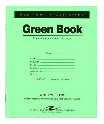 Recycled Green Examination Book 16 Page 8 12 X 7