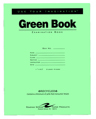 Recycled Green Examination Book 16 Page 11 X 8 12