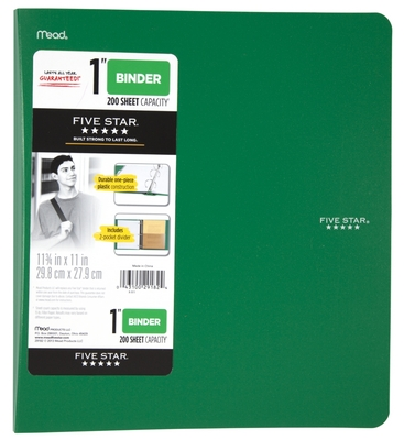 Five Star 1 inch Poly Binder (Assorted Colors)