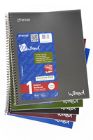1 subject Wired notebook, 100ct, college ruled, 5 assorted colors.