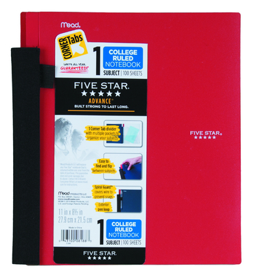 Five Star Advance 1 Subject Notebook, 100ct, CR