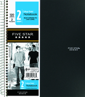 Five Star Wirebound Notebook, 2 Subject, 120 ct, CR