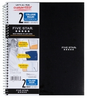Five Star 2 Subject College Ruled Notebook (Assorted Colors)