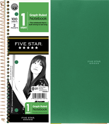 Mead 5 Star 100 Sheet Quad Ruled Notebook