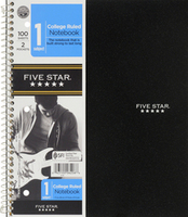 FIVE STAR 1 SUBJECT WIREBOUND NOTEBOOK (ASSORTED COLORS)
