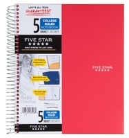 Five Star 5 Subject Wirebound Notebook (Assorted Colors)