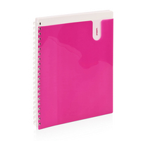Translucent Pink front cover pocket. 80 ruled sheets with micro perforated pages. Measures 8.5 x 11.