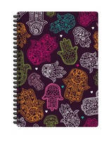 Pierre Belvedere Printed Large Hard Cover Wirebound Journal, Hand Prints