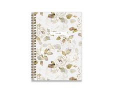 Medium Notebook, Beige Flowers