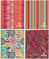 Top Flight Petals & Stripes 5 Subject Notebook (Assorted Patterns)