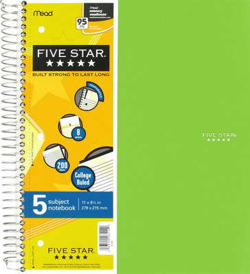 Five Star Trend 11X85 Wirebound Notebook  5 Subject