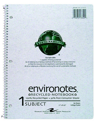 Recycled 1 Subject College Ruled Notebook
