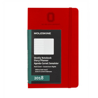 Red 12 mo Planner  Hard Cover Jan 2018  Dec 2018 Wordmark Debossed