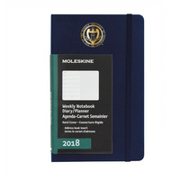 Navy 12 mo Planner  Hard Cover Jan 2018  Dec 2018 School Seal Foil Stamped
