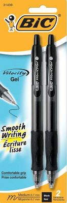 Bic Velocity Gel Roller Retractable Black Pen