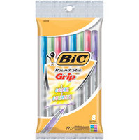 BIC ROUND STIC GRIP FASHION 8pk