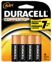 Duracell Aa 4 Pack Batteries Coppertop