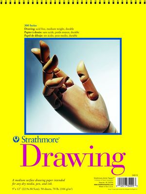 Strathmore Spiral Bound Drawing Paper Pad, 300 Series, 50 Sheets (9 x 12)