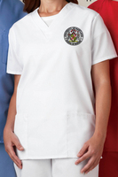 Scrub top with patch