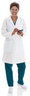 Landau 3155 Ladies Lab Coat, White