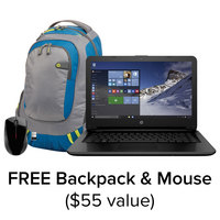 HP Laptop Bundle with Free Backpack and Mouse. 14AN080NR