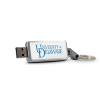 University of Delaware Custom Logo USB Drive Keychain 32GB Silver