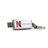 Northeastern University Custom Logo USB Drive Keychain 32GB Silver