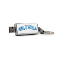Columbia University Custom Logo USB Drive Keychain 32GB Silver