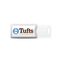 Tufts University Custom Logo USB Drive Push 32GB Silver