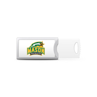 George Mason University Custom Logo USB Drive Push 32GB Silver