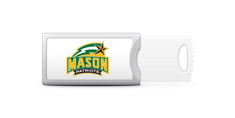 George Mason University Custom Logo USB Drive Push 16GB Silver