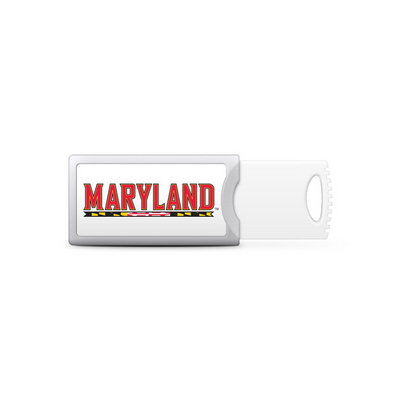 University of Maryland Custom Logo USB Drive Push 16GB Silver