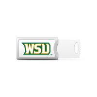 Wright State Custom Logo USB Drive Push 16GB Silver