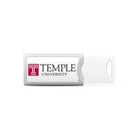 Temple University Custom Logo USB Drive Push 16GB Silver