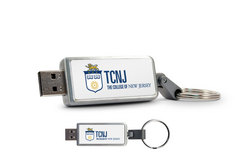 The College of New Jersey Custom Logo USB 2.0 Drive Keychain, 16GB