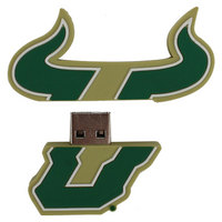 US DIGITAL MEDIA, INC South Florida Bulls Logo Shape USB Drive 16GB