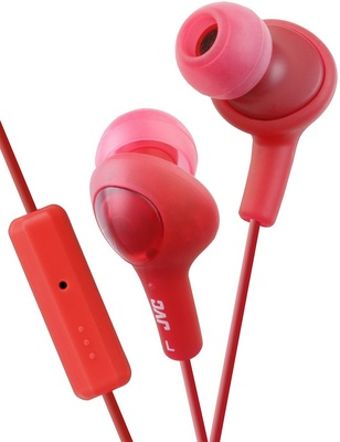 JVC GUMY PLUS IN EAR HEADPHONE WITH MIC AND REMOTE, RED