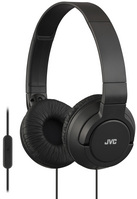 JVC Powerful Bass On Ear Headphones with Mic,  Black