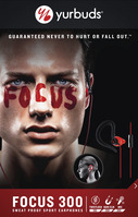 Yurbuds Focus 300 Earbud Headphones with Mic, Red & Black