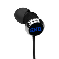 Southern Methodist University Custom Logo Earbuds  Black