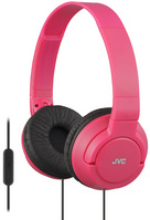 JVC Powerful Bass On Ear Headphones with Mic, Red
