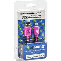 OnHand, LLC Everlasting Nylon Cable USB to Lightning 8Pin 5 Feet Pink
