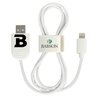 US DIGITAL MEDIA, INC Babson Beavers Custom Logo Lightning USB Cable with QuickClip White