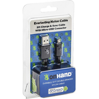 OnHand, LLC Everlasting Nylon Cable USB to MicroUSB 5 Feet, Black