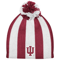 Womens IU Cuffless Candy Stripe Knit Hat wPom