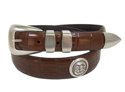 Enmon Croco Pattern Leather Belt